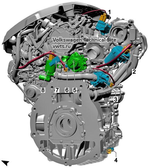 2.0l petrol engine, CZPA, DKTA, DKZA, from left VW Tiguan 2