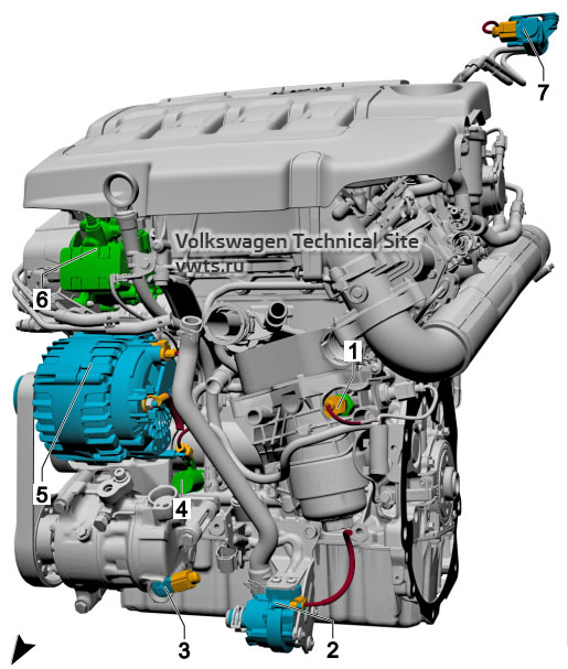 2.0l diesel engine, CRFD, CRGA, CRGB, DFGA, DFGC, DFHA, from front VW Tiguan 2
