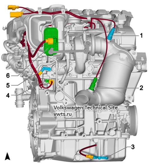 1.5l petrol engine, DACA, DACB, DADA, from rear VW Tiguan 2