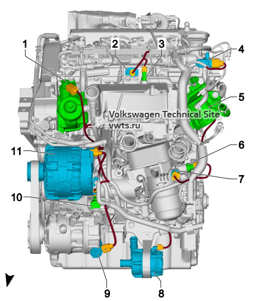 1.6l diesel engine, DGDB, from front VW Tiguan 2