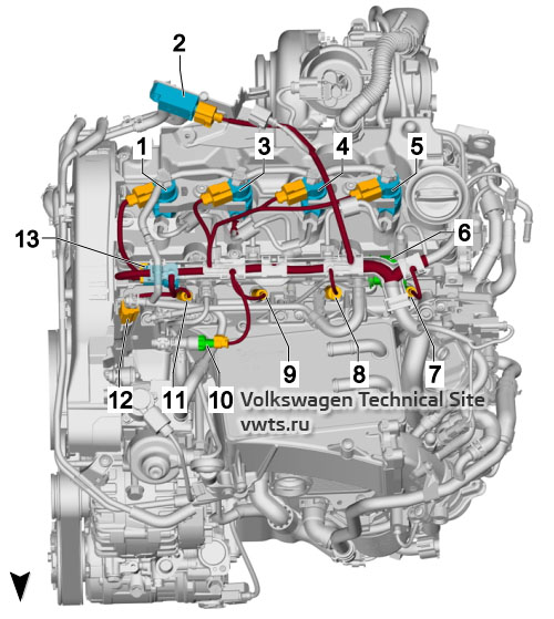 1.6l diesel engine, DGDB, from above VW Tiguan 2