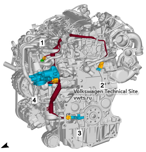 1.6l diesel engine, DGDB, from left VW Tiguan 2