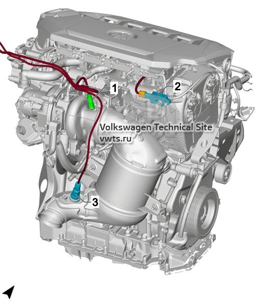 2.0l petrol engine, CHHB, CZPA, DKTA, DKZA, from rear VW Tiguan 2 - 2.0l petrol engine, CHHB, CZPA, DKTA, DKZA, from rear