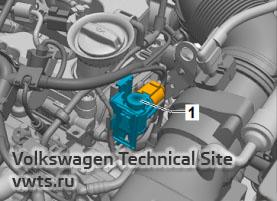 Переключающий клапан охладителя рециркуляции выхлопных газов N345 дизельных двигателей 1,6 и 2,0 серии EA288