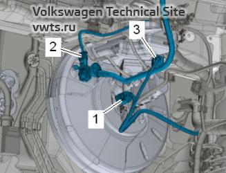 Fitting location brake light switch F / brake pedal switch F63 and vacuum sender G608