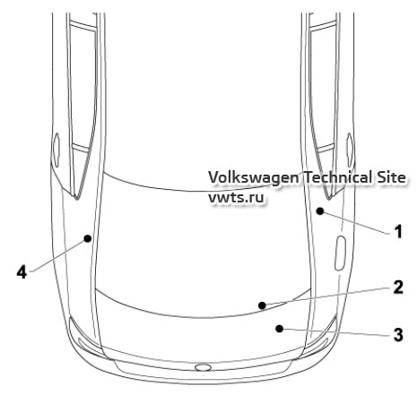 Overview of earth points in the rear part of the Skoda Rapid