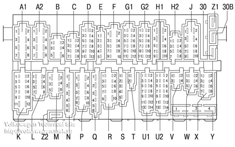 Схема расположения реле и предохранителей Фольксваген Гольф 3 (1H)