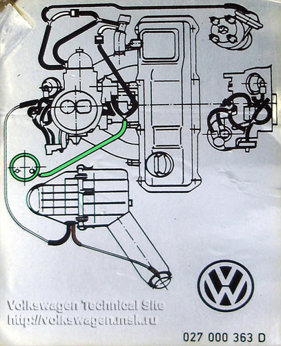 Пирбург 2е2.  Схема подключения вакуумника трамблера.