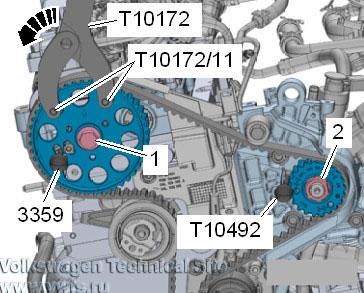 Вставить контропору -T10172- с адаптерами -T10172/11- в зубчатый шкив распредвала
