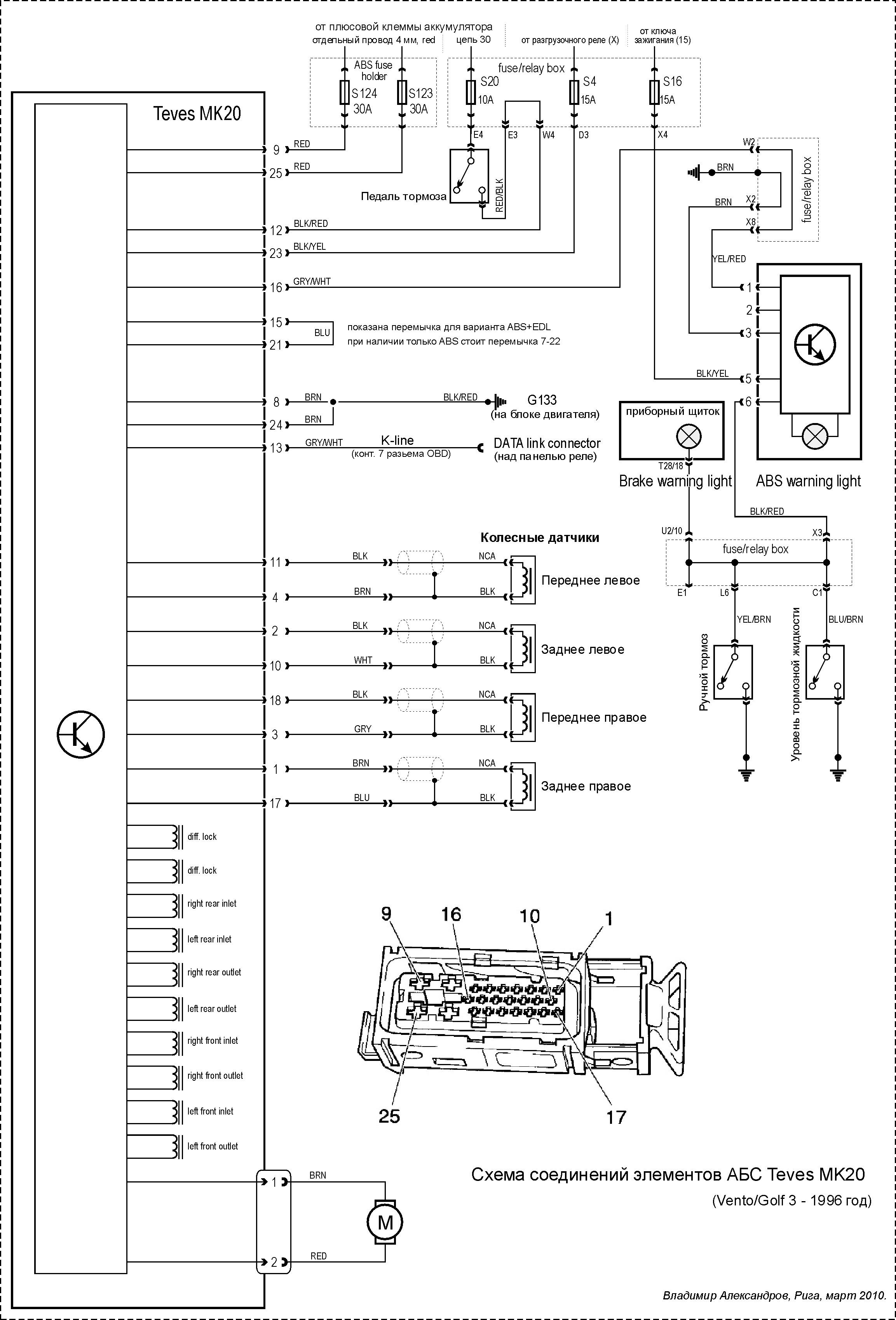 Схема блока абс renault