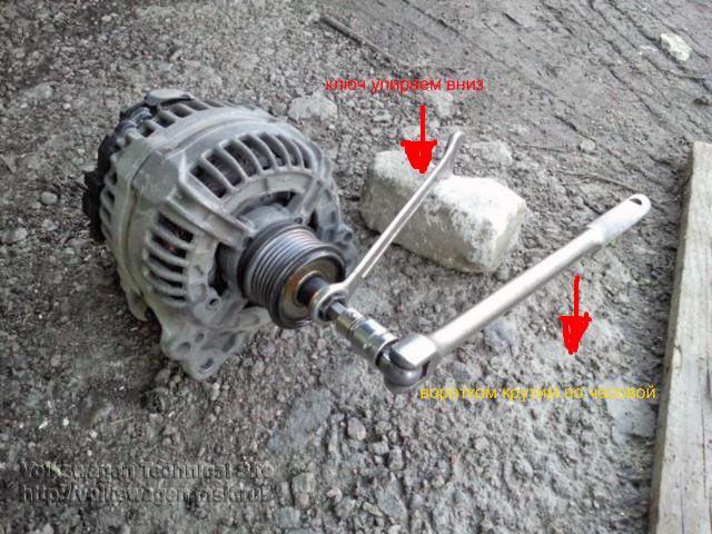 Замена шкива генератора с муфтой свободного хода