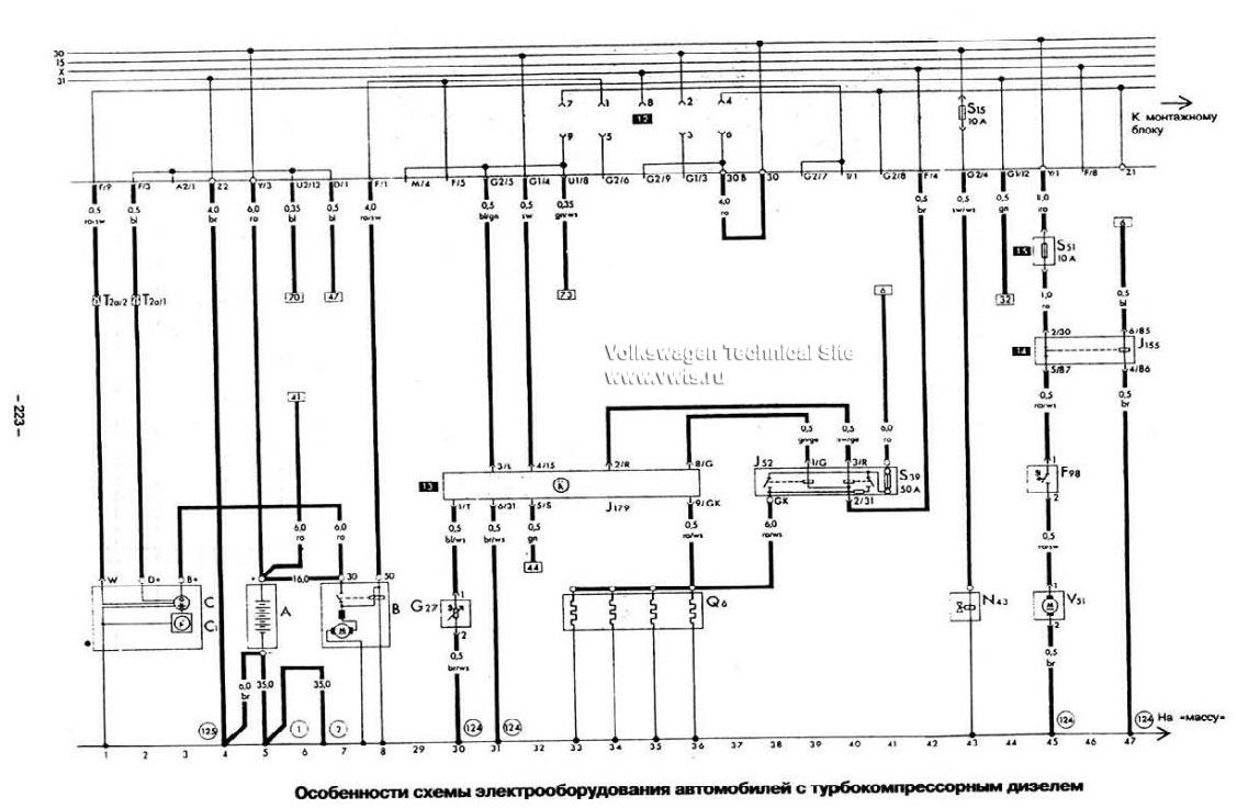 электро схема накала свечей фольксваген т4 2.4