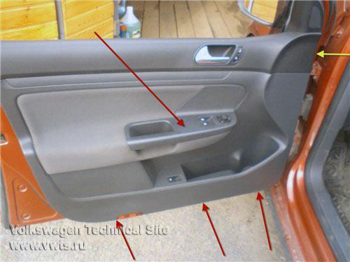 снять обшивку передней двери поло фольксваген