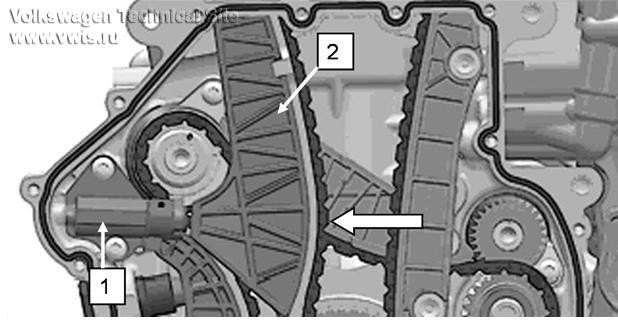 Поз. 1: натяжитель цепи ГРМ
